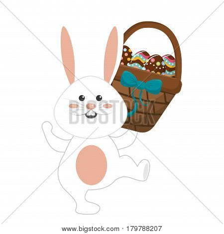 cute rabbit with hamper of eggs in the hand, vector illustration