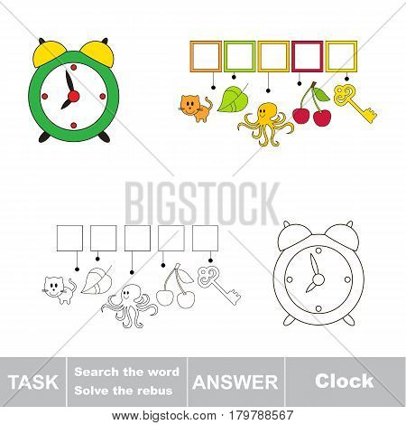 Educational puzzle game for kids. Find the hidden word Green Clock