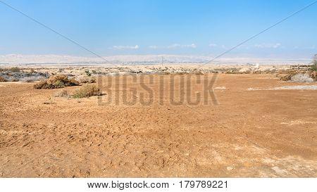 Desert Wadi Al Kharrar In Holy Land In Jordan