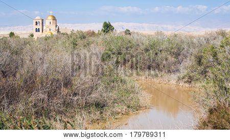 Jordan River And Greek Orthodox Church In Winter
