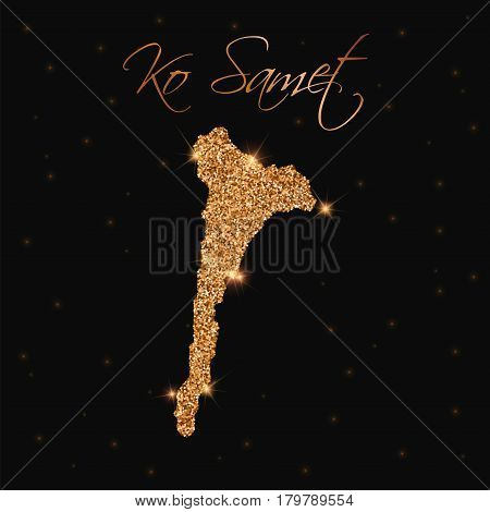 Ko Samet Map Filled With Golden Glitter. Luxurious Design Element, Vector Illustration.