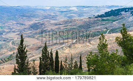 Panorama Promised Land From Mount Nebo In Winter