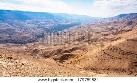 Mountain Landscape In Valley Of Wadi Mujib River