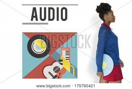 Woman holding music vinyl record audio passion leisure activity