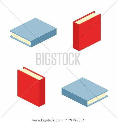 set of close books icon vector illustration in flat design style isolated on white background. Academic education symbol learning, reading, school sign. Knowledge science university library
