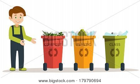 Green ecology energy concept. the boy with the box of plastic bottles for recycling. gathering garbage and plastic waste for recycling. Vector illustration on white background