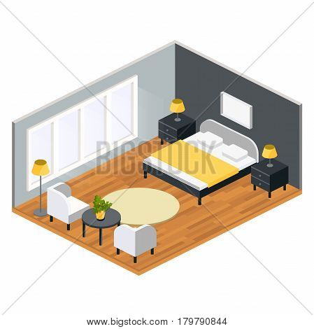 Living room isometric design with table chair king size bed nightstand carpet .vector illustration.room for newlyweds in hotel