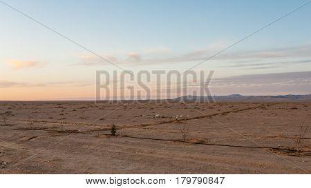 Plain Land Along Desert Highway In Jordan