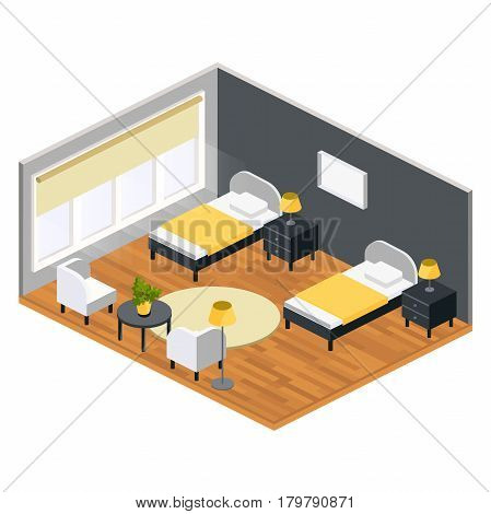 Living room isometric design with table chair two bed  carpet.City hostel hotel flat color illustration.Isometric hostel room.Flat hotel 3D illustration.Hostel hotel design concept in cartoon style