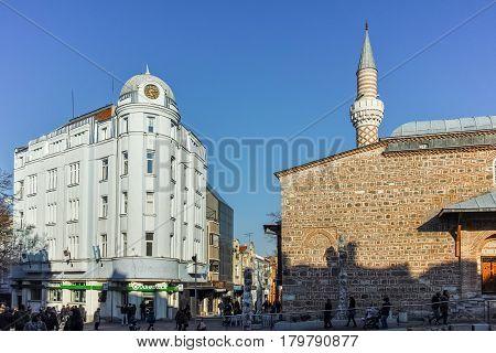 PLOVDIV, BULGARIA - JANUARY 2 2017: Dzhumaya Mosque and cental street in city of Plovdiv, Bulgaria