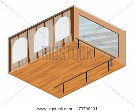 Isometric empty training dance-hall with parquet floor large mirror and panoramic window with white curtains, 3D vector illustration. isometric interior room for dancing, fitness, gymnastics