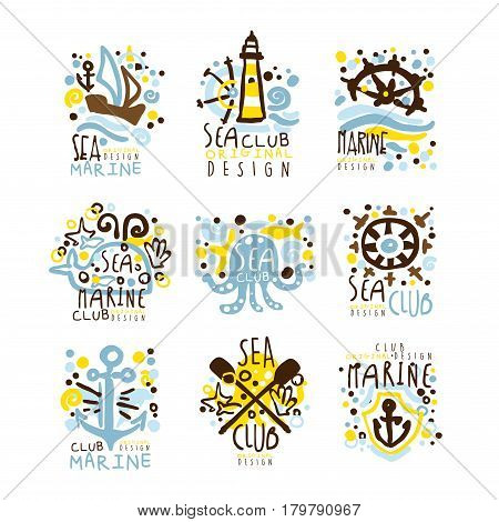 Sea club, marine club set for label design. Yacht club, sailing sports or marine travel vector Illustrations for stickers, banners, cards, advertisement, tags