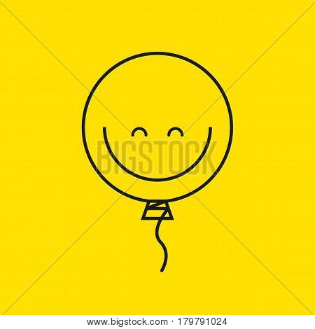 Line balloon smiley isolated on yellow. Icon positive mood. Vector illustration.