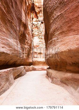 Narrow Al Siq Passage To Ancient Petra Town