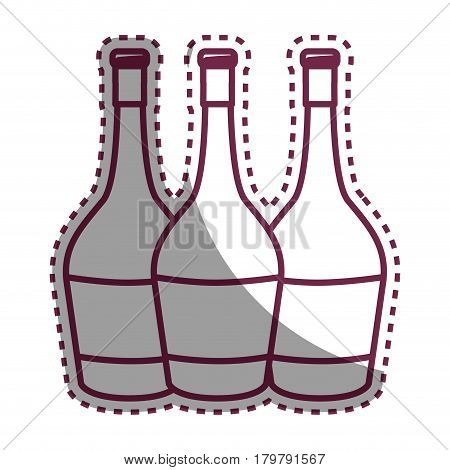 sticker wine bottles taste beverage, vector illustration design