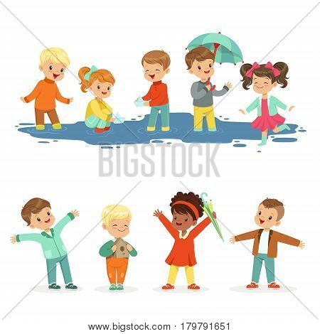 Smiling little kids playing on puddles, set for label design. Active leisure for children. Cartoon detailed colorful Illustrations isolated on white background