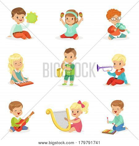 Little kids sitting and playing musical instrument, set for label design. Education and child development. Cartoon detailed colorful Illustrations isolated on white background