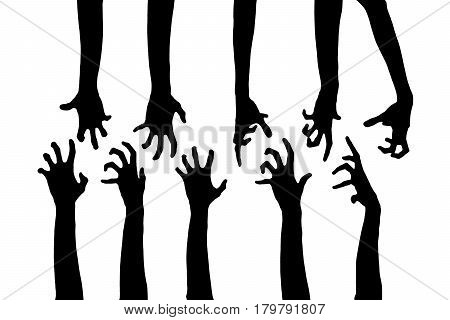 Black Zombie hands isolated on white background. Zombie theme with corpse hands on cemetery.