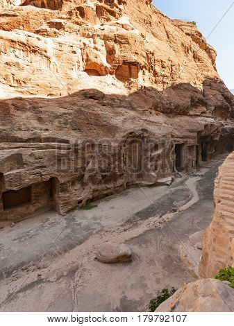 Ancient Cave Rooms In Little Petra Town