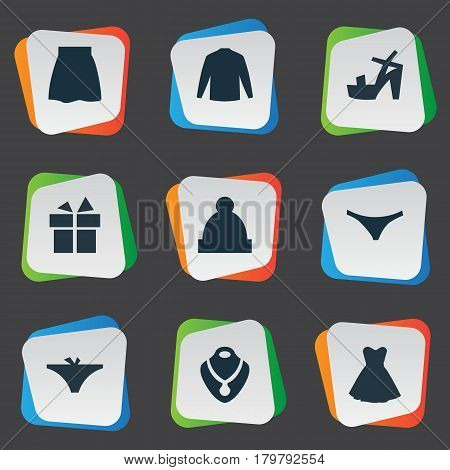 Vector Illustration Set Of Simple Dress Icons. Elements Swewatshirt, Panties, Footwear And Other Synonyms Sweatshirt, Lingerie And Giftbox.