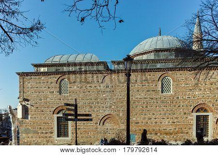PLOVDIV, BULGARIA - JANUARY 2 2017: Dzhumaya Mosque and park in city of Plovdiv, Bulgaria