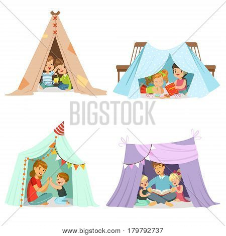 Cute little children playing with a teepee tent, set for label design. Funny lovely children having fun with their parents in children room. Cartoon detailed colorful Illustrations isolated on white background