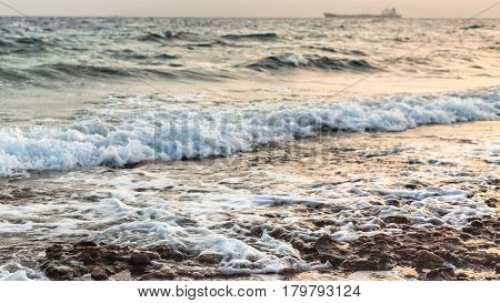 Surf On Gulf Of Aqaba Beach On Red Sea In Winter