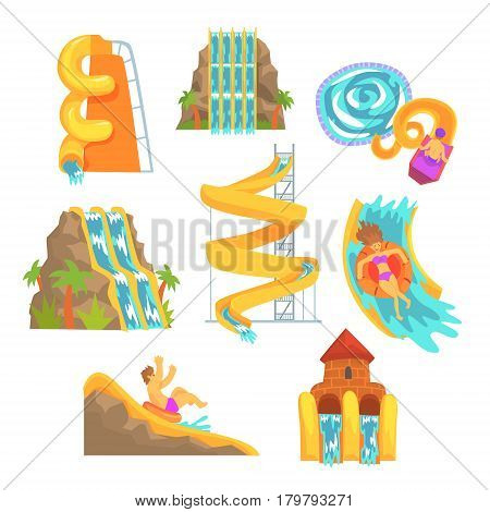 Colorful water slides and tubes, aquapark equipment, set for label design. Cartoon detailed Illustrations isolated on white background