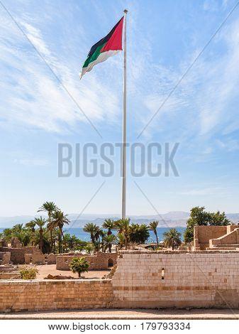 Flag Of The Arab Revolt Over Aqaba Fort