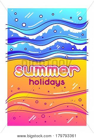Summer holidays. Sea surf on sandy beach. Stylized illustration of coastline.