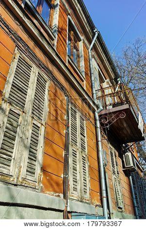 PLOVDIV, BULGARIA - JANUARY 2 2017: Old houses in old town in city of Plovdiv, Bulgaria