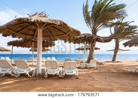 Empty Coral Beach Of Red Sea In Aqaba City