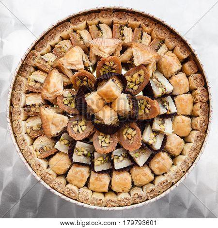 Many Arabian Sweet Pastry Baklava On Plate