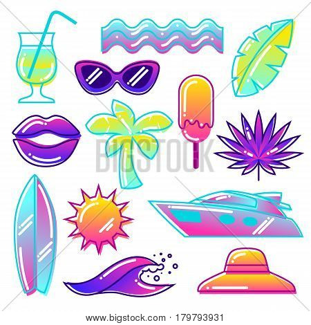 Set of stylized summer objects. Abstract illustration in vibrant color.