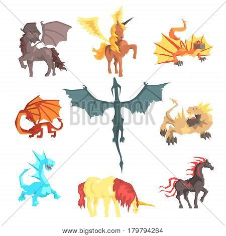 Mythical and fantastic creatures, set for label design. Cartoon detailed Illustrations isolated on white background