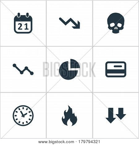 Vector Illustration Set Of Simple Situation Icons. Elements Circular Diagram, Plastic Card, Clock And Other Synonyms Chart, Arrows And Fire.