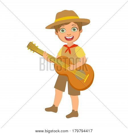 Happy boy scout with guitar, a colorful character isolated on a white background