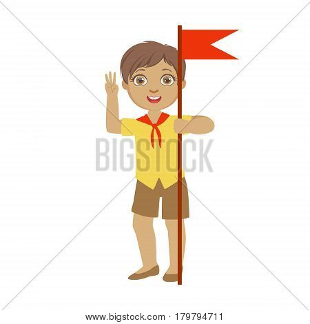 Cute boy scout carrying red flag, a colorful character isolated on a white background