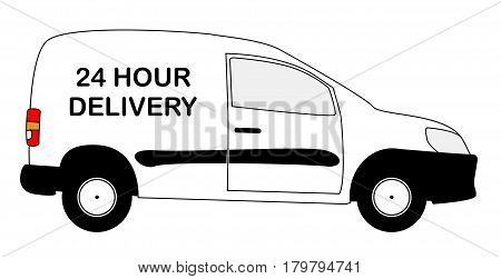 A small white 24 hour delivery van with copy space isolated on a white background