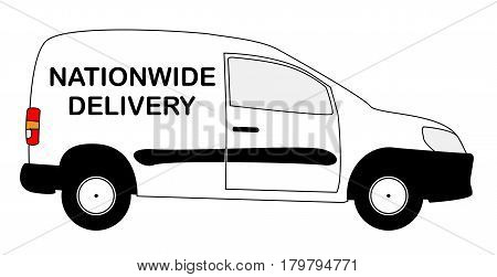 A small white nationwide delivery van with copy space isolated on a white background