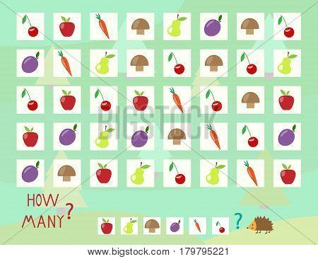 Help the hedgehog calculate fruit vector illustration