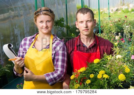 man and woman keep records of plants in the greenhouse