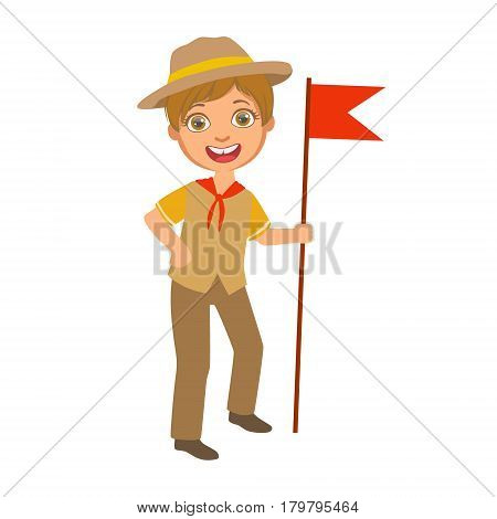 Scout boy with red flag dressed in uniform, a colorful character isolated on a white background
