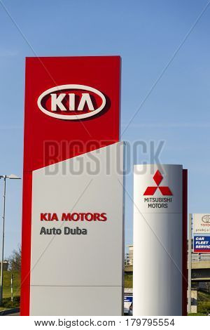 Prague, Czech Republic - March 31: Kia Motors Company Logo In Front Of Dealership Building On March