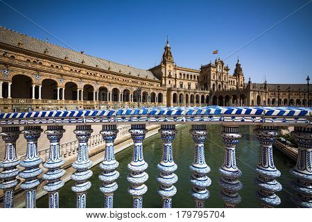 Seville Plaza de Espana ornamental rail and buildings