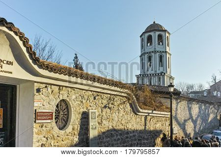 PLOVDIV, BULGARIA - JANUARY 2 2017: St. Constantine and St. Elena church from the period of Bulgarian Revival in old town of Plovdiv, Bulgaria