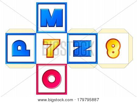 Paper cube schemes for English letters and numbers M-N-O-P-7-8