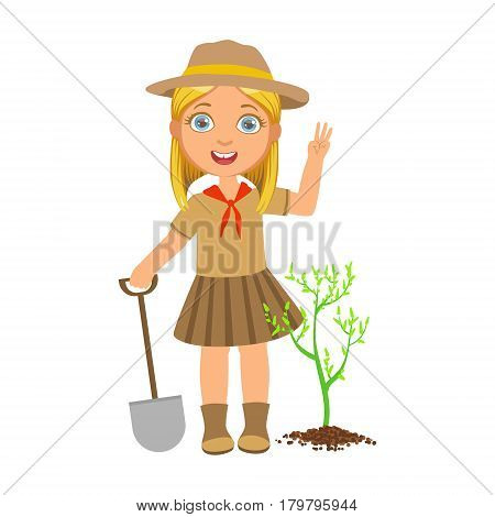 Cute scout girl with a shovel planting green tree, a colorful character isolated on a white background