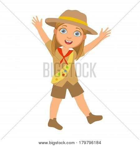 Happy scout girl raising her arms up, a colorful character isolated on a white background