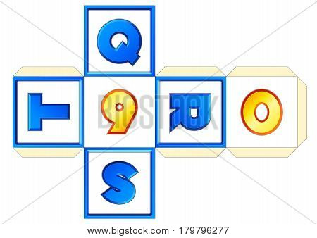 Paper cube schemes for English letters and numbers Q-R-S-T-9-0
